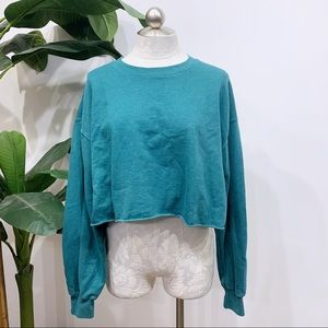 "Wild Fable Aqua Cropped ""New York"" Sweatshirt"